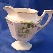 R S Prussia Creamer with Old Fashioned White Roses and Gold Highlights