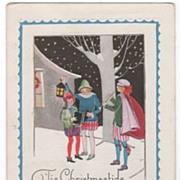 Christmas Carolers in Snowy Winter Scene at Night Postcard