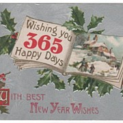 Holly Bells Winter Scene in a Book New Year's Postcard