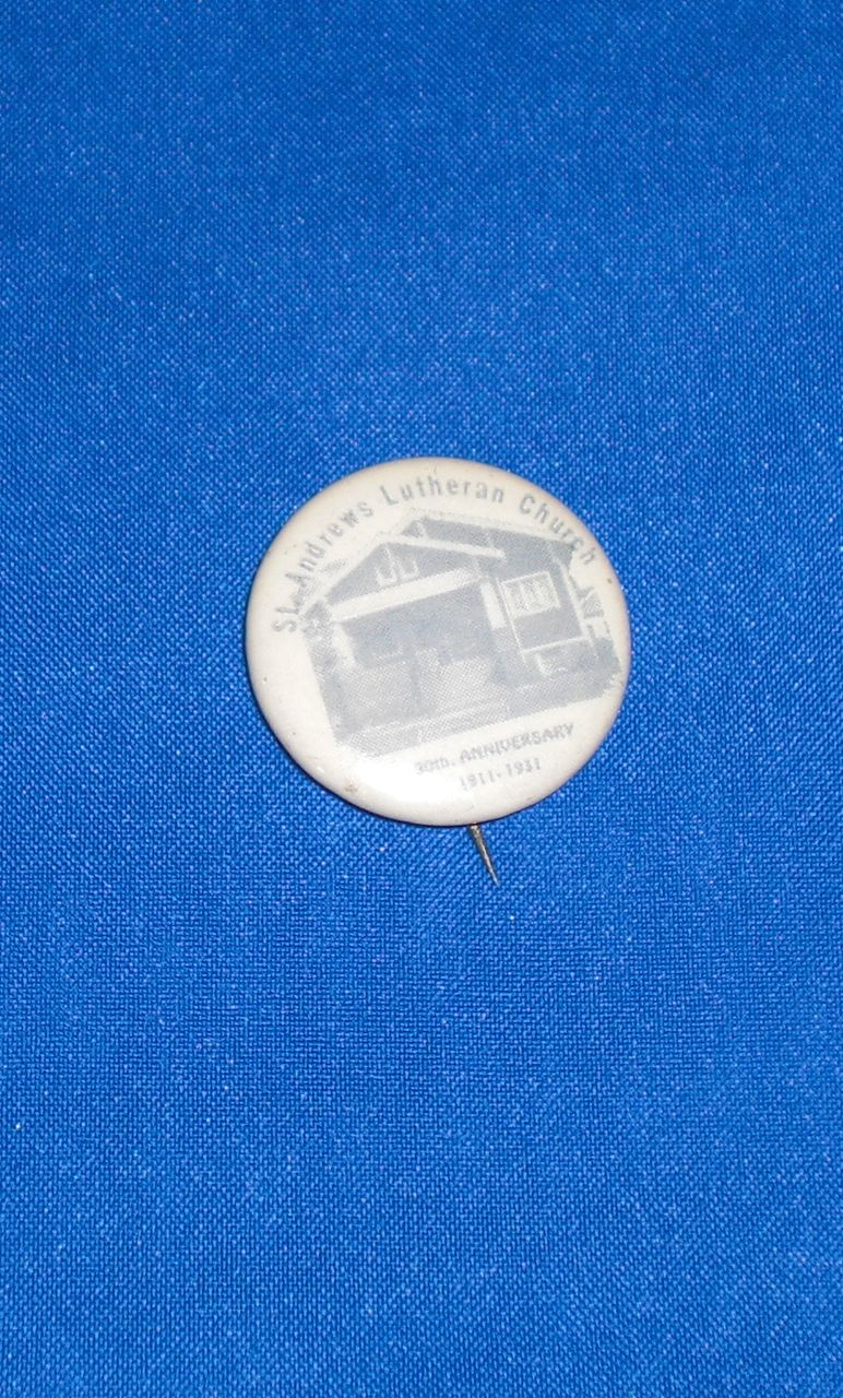 St Andrews Lutheran Church 20th Anniversary 1911-1931 Vintage Pinback Button