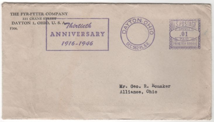 Fyr-Fyter Company Dayton OH Ohio Vintage Envelope Letterhead and Contents 1946