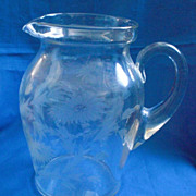 Wheel Cut Blown Glass Pitcher