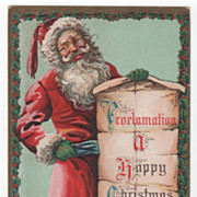 Christmas Postcard with Santa Claus Holding Proclamation