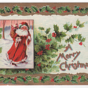 Christmas Postcard with Santa Claus Shouldering a Bag of Toys