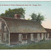 First Home of Masonry in Western Massachusetts Built 1750 Orange MA Postcard
