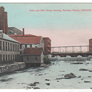 Falls and New Home Sewing Machine Works Orange MA Massachusetts Postcard