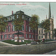 Town Hall and Universalist Church Orange MA Massachusetts Postcard