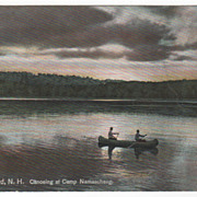 Lake Spofford NH New Hampshire Canoeing at Camp Namaschaug Postcard