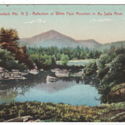 Adirondack Mts NY New York White Face Mt Reflected in Au Sable River Postcard