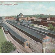 Union Station Springfield MA Massachusetts Postcard