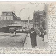 Railroad Arch over Main Street Springfield MA Massachusetts Postcard
