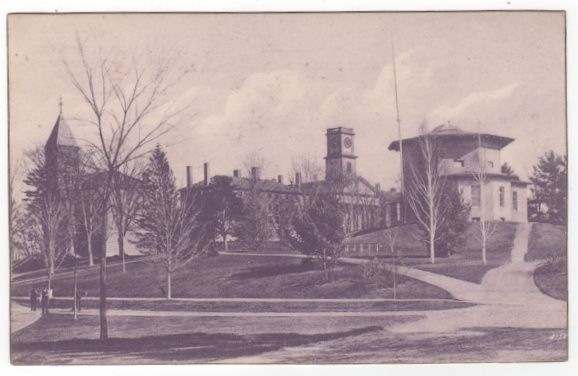 Blue Tinted Amherst College Amherst MA Massachusetts Postcard