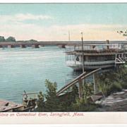 Steamer Silvia on Connecticut River Springfield MA Massachusetts Postcard