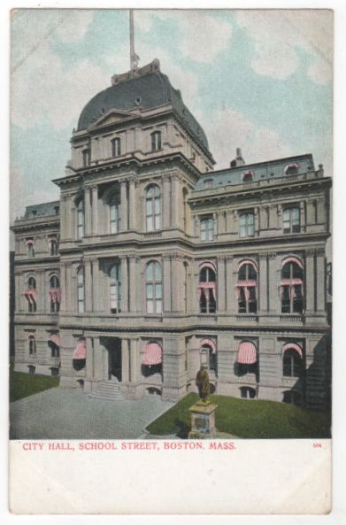 City Hall School Street Boston MA Massachusetts Postcard