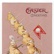 Easter Greeting Marching Color Guard of Chicks Vintage Postcard