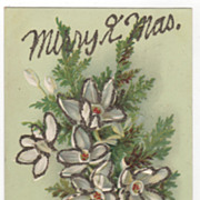 Merry Xmas Postcard White Flowers Green Leaves Glitter Vintage Postcard
