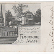 First Congregational Church & Chapel Florence MA Massachusetts Postcard