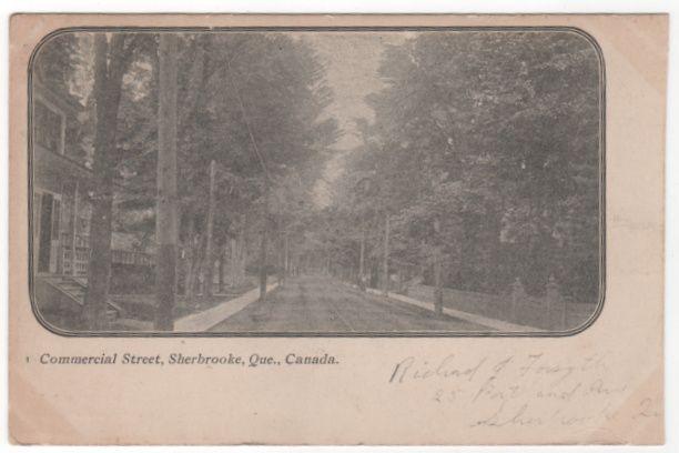 Commercial Street Sherbrooke Quebec Canada Vintage Postcard