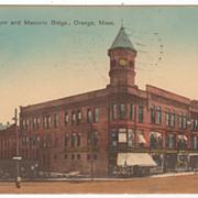Mann and Masonic Buildings Orange MA Massachusetts Vintage Postcard