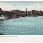The Old Toll Bridge Springfield MA Massachusetts Vintage Postcard