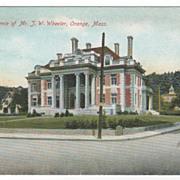 Residence of J W Wheeler Orange MA Massachusetts Vintage Postcard