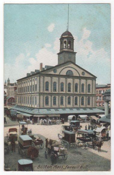 Boston MA Massachusetts Faneuil Hall Vintage Postcard