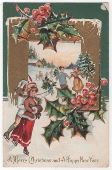 Christmas New Year Vintage Postcard Merry Christmas Happy New Year Skaters Holly