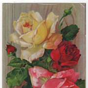 SOLD Best Wishes Greetings Vintage Postcard Red Yellow Pink Roses - Red Tag Sale Item