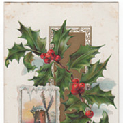 Christmas Vintage Postcard Best Christmas Wishes Windmill Scene Holly