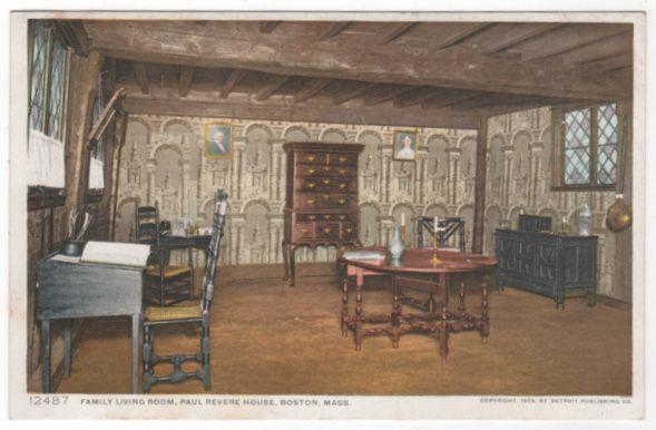 DPC Family Living Room Paul Revere House Boston MA Massachusetts Vintage Postcard