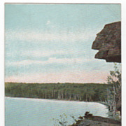 "Moosehead Lake ME Maine View of Table Rock Showing ""Profile"" Vintage Postcard"