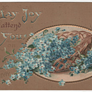 Greetings Vintage Postcard May Joy Attend You on Your Birthday Basket Blue Flowers