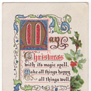 Christmas Vintage Postcard Christmas Verse with Holly