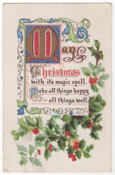 Christmas Vintage Postcard Christmas Verse with Holly