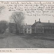 Main Street Unity Village ME Maine Vintage Postcard