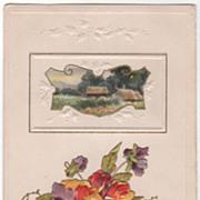 Greetings Vintage Postcard Sincere Greetings Art Nouveau Framed Scene Pansies