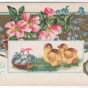 Easter Vintage Postcard A Joyful Easter Basket of Eggs Chicks Flowers