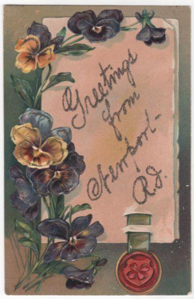 Greetings Vintage Postcard Greetings from Newport RI Rhode Island Pansies
