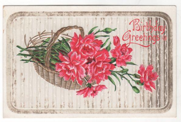 Greetings Vintage Postcard Birthday Greetings Pink Flowers in a Basket
