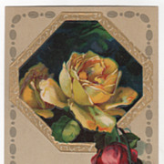 Greetings Vintage Postcard Best Wishes Octagonal Frame Yellow and Red Roses