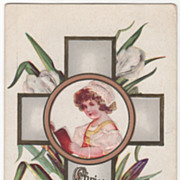Easter Vintage Postcard Christ Is Risen Cross Purple and White Iris Young Girl