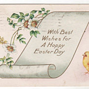 Easter Vintage Postcard With Best Wishes for a Happy Easter Day Chick Scroll