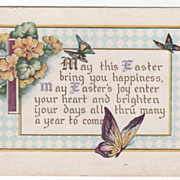 Easter Vintage Postcard May This Easter Bring You Happiness Butterflies Flowers
