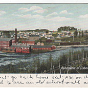 Panorama of Lisbon Falls ME Maine Vintage Postcard