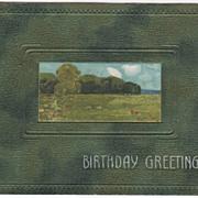 Greetings Vintage Postcard Birthday Greetings Country Scene of a Meadow