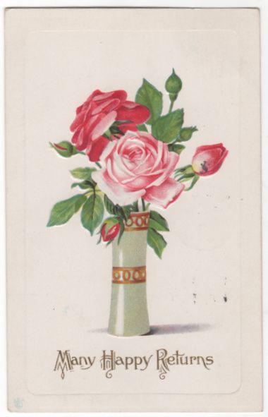 Greetings Vintage Postcard Birthday Many Happy Returns Vase of Roses