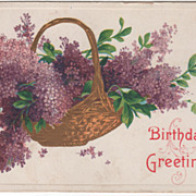 Greetings Vintage Postcard Birthday Greetings Basket of Lilacs