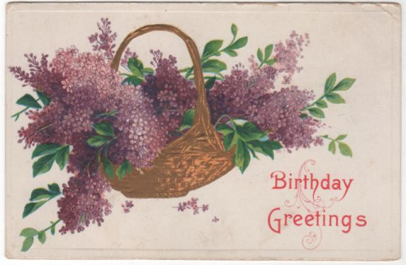 Greetings Vintage Postcard Birthday Greetings Basket of Lilacs