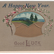 New Year Vintage Postcard A Happy New Year Country Scene Flowers