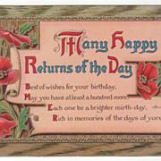 Greetings Vintage Postcard Birthday Red Flowers and Greenery